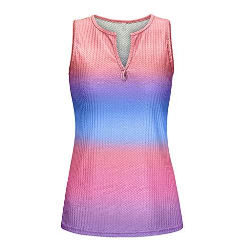 Hffan Frauen V-Ausschnitt Farbblock Tie-Dye Ärmellose Weste T-Shirt Casual Tank Tops