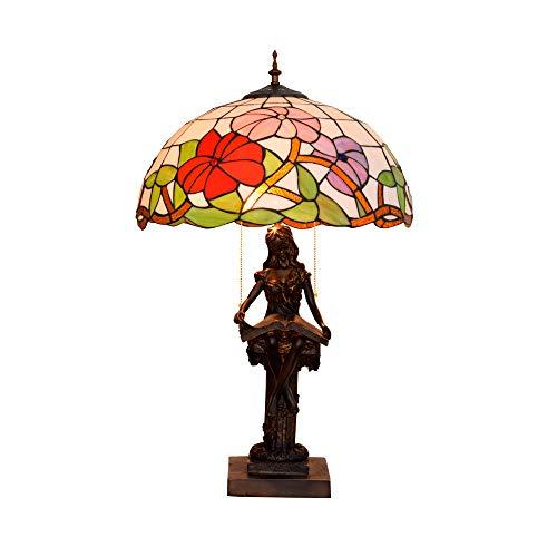 ZZKK leeslamp Amerikaanse kleur landelijke stijl glazen lamp eetkamer slaapkamer cadeaubord van de Europese kunst van de lamp 40 cm vrouwen