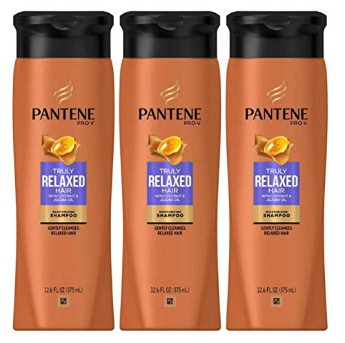 Pantene Pro-V Truly Relaxed Hair Moisturizing Shampoo with Coconut & Jooba Oil 12.6 Ounce (372ml) (Pack of 3)