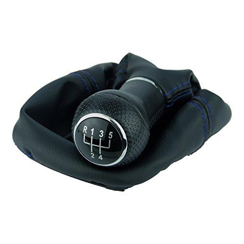L & P Car Design L&P A0254-12 Schaltsack Schaltmanschette Schwarz Naht Blau Schaltknauf 5 Gang 12mm kompatibel mit VW Golf 2 II 3 III Polo 6N Passat 35i UVM. Schelle Plug Play Ersatzteil
