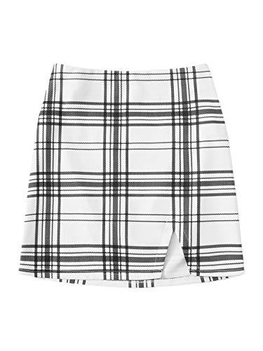 Verdusa Women's Plaid Split Hem A-line Mini Skirt White XS