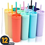 SKINNY TUMBLERS (12 pack) Matte Colored Acrylic Tumblers with Lids and Straws | Skinny, 16oz Double Wall Plastic Tumblers With FREE Straw Cleaner! Reusable Cup With Straw | Vinyl DIY Gifts