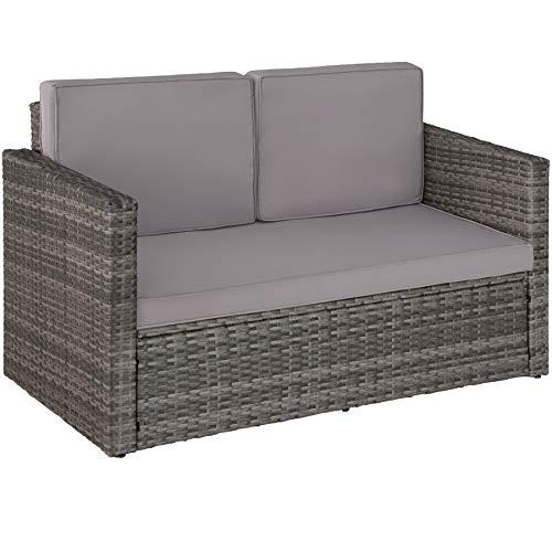 TecTake 800693 Poly Rattan Lounge Set, 2 Sitzer Sofa mit Hocker, Ottomane, inkl. Dicke Auflagen – Diverse Farben (Grau | Nr. 403125) - 4