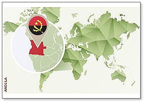 Kühlschrankmagnet Weltkarte mit Angola & Flagge