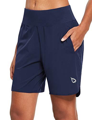 "BALEAF Women's 7"" Running Shorts with Liner Quick-Dry Athletic Sport Shorts Back Zipper Pocket (Navy, Large)"