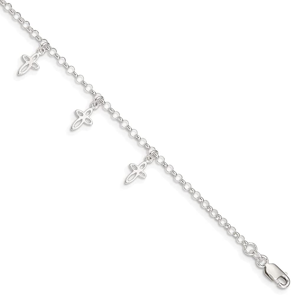 925 Sterling Silver Cross Anklet Women for Now free Max 61% OFF shipping 9inch