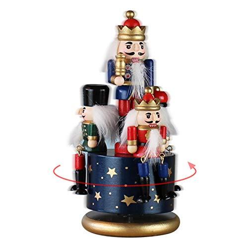 Gorgeousy Weihnachts-Spieluhr, Nussknacker 4 Soldat Holz Spieluhr 20 cm Höhe Weihnachtsschmuck, Für Weihnachtsdekor Geschenk Jungen Und Mädchen (Blau)