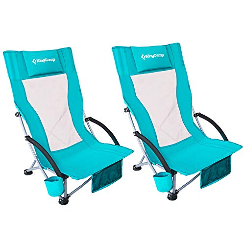 KingCamp Low Sling Beach Chair for Camping Concert Law Low and High Mesh Back Two Versions