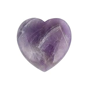"Bingcute Natural Amethyst Pocket Carved Puff Heart Pocket Stone,Healing Palm Crystal Pack of 1(1.6"")"