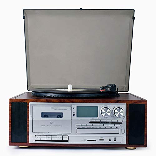 DKee Home Decorations. in Stile Europeo Vinyl Record Player Modern Living Room Ornamenti d'Epoca Retro grammofono Bluetooth Stereo CD Radio Cassette