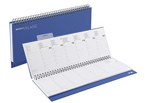 Agenda 2020 da scrivania settimanale con spirale colore blue