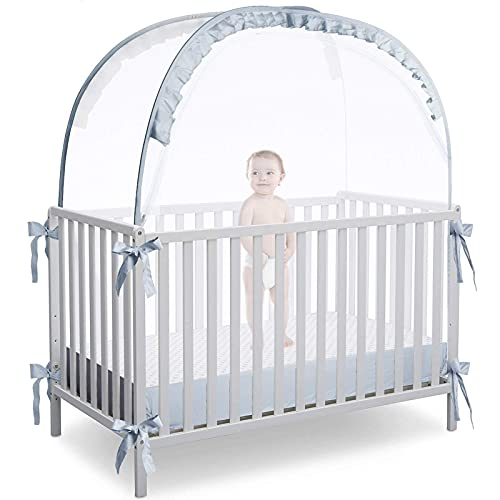 L RUNNZER Baby Crib Tent Crib Net to Keep Baby in, Pop Up Crib Tent Canopy Keep Baby from Climbing Out