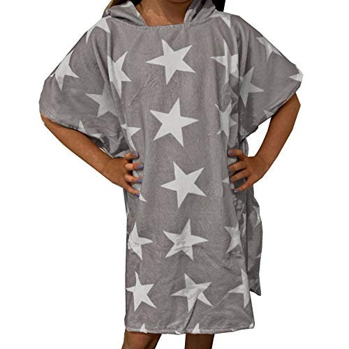 HOMELEVEL Kinder Baby Poncho Badeponcho Handtuch Cape Baumwollmischung Velours Frottee Badetuch mit Kapuze 1-3 Jahre Grau Sterne