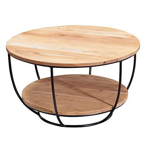 FineBuy Couchtisch 60x34,5x60 cm Akazie Massivholz/Metall Sofatisch | Design Wohnzimmertisch Rund | Stubentisch Industrial Braun | Tisch mit Ablage