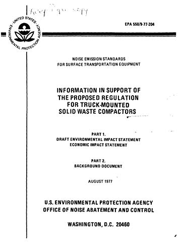 Information In Support Of The Proposed Regulation For Truck-Mounted Solid Waste Compactors