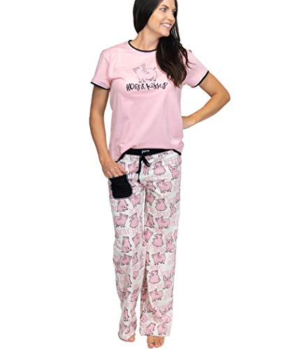 Lazy One Women's Pajama Set, Short Sleeves with Cute Prints, Relaxed Fit, Hugs & Kisses, Pig, Farm, Animal (Hogs & Kisses PJ Set, Medium)