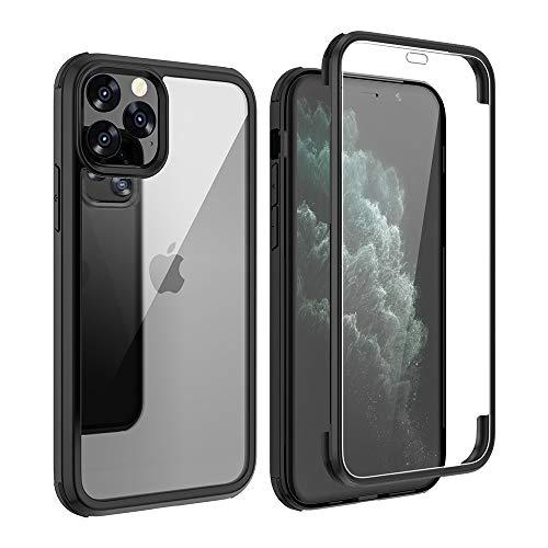 FMPCUON Funda Compatible con iPhone 11 Pro MAX 6.5' 2019, Carcasa Móvil de Protección 360° 2 en 1 Protector Caso Case Cover Cubierta, Vidrio Templado Frontal y Posterior de diseño de una Pieza, Negro