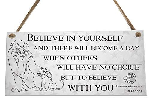 the sticker studio ltd Lion King Walt Disney Believe quote Novelty Wooden Plaque Sign keepsake Gift