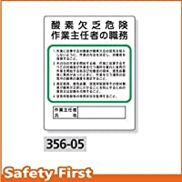 【ユニット】作業主任者職務板 酸素欠乏危険 [品番:356-05]