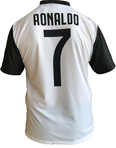 JUVE Camiseta de Fútbol Cristiano Ronaldo 7 CR7 Juventus F.C. Home Temporada 2018-2019 Replica Oficial con Licencia - Todos Los Tamaños Niño (2 4 6 8 10 12 AÑOS) y Adulto (S M L XL) (10 AÑOS)