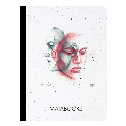 Matabooks, nachhaltige und vegane Notizbücher A6 aus Graspapier, Samenbuch In thought, 108 blanko Seiten, Natur, Handmade, Made in Germany