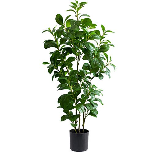 Momoplant Artificial Ficus Green Tree - 43 Inch Faux Fig lyrata Feaux Plant Greenery Potted Plants Indoor/Outdoor Living Room Office Decor (43.3inch)
