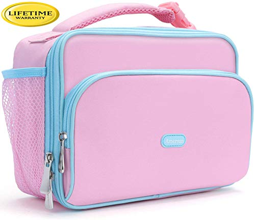 Amersun Kids Lunch Box,Durable Insulated School Lunch Bag with Padded Liner Keeps Food Warm Cold Longer Time,Small Water-resistant Thermal Travel Office Lunch Cooler for Teen Girls-2 Pockets,Pink