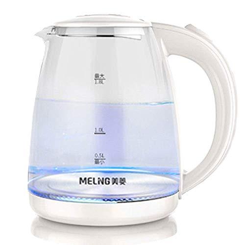 JSMY Hervidor eléctrico de Vidrio ecológico,hervidor de Agua inalámbrico de 1,8 l con LED Azul Iluminado,hervidor de Agua para té de hervido rápido,Apagado automático y protección para hervir y s