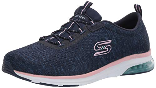 Skechers Skech-air Edge, Zapatillas Bajas Mujer, Azul (Navy Mesh/Hot Melt/Pink Trim Nvpk), 37 EU
