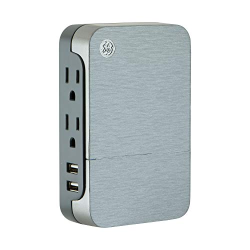 GE UltraPro 2 Outlet + 2 USB Side Access Surge Protector Tap, Plug-In, 2.4 Amp, 860 Joules, 33642, Silver