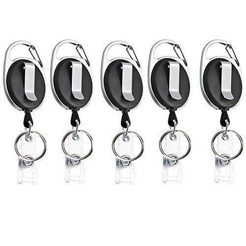 Xinlie 5 Piezas Llaveros Retráctil de Tarjeta Llavero Retráctil de Acero con Clip de Cinturon Cordón Extensible 65cm Ovalado con Clip y Llavero Metálico, Llavero Casa y Oficina, Negro