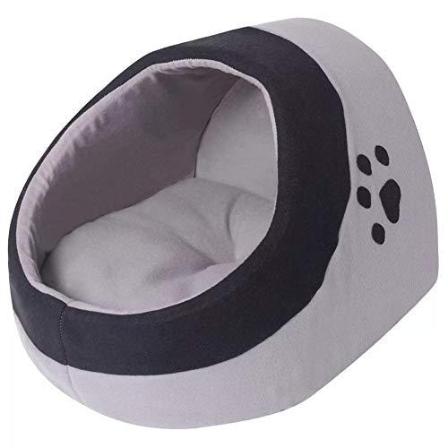 AYNEFY - Cama cálida de forro polar para gatos, color gris y negro, talla L, de forro polar de poliéster, con cojín extra grueso, 30 x 33 x 38 cm