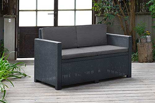Allibert by Keter Gartenmöbel-Set Monaco, Outdoor-Möbel, 4-Sitzer, aus Rattan, Lounge-Set