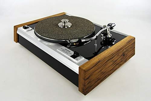 Restaurierter Plattenspieler Micro Seiki Belt Drive MR-322 mit Seitenteilen aus hundertjährigem Eichenholz und schwarzer Deckplatte in Hochglanzlackierung Rarität