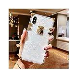 高級スクエアクリアTPUケースiphone 11プロマックスソフトシリコンブリンブリン電話カバーiphone X XSマックスXR iphone 6 7 8プラス,For iPhone 7,White