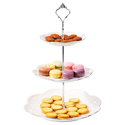 "EROOM TREND Cupcake Stand Sturdy 3 Tier 10"" Ceramic Embossed Pure White Rimmed With Silver Poles Dessert Stand Tower Tree Serving Tray Platter for Wedding Tea Birthday Party A040"