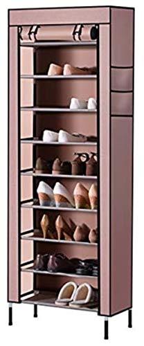 DALUXE S203 Animales gabinete del Zapato 10 Soportes Torre Zapato Heavy Duty Organizador 58 x 28 x paño 30 con Contiene 170 Pares Que Apretado hasta Polvo cm de Zapatos Oxford (Gris),marrón