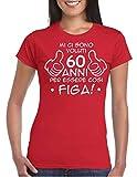 WIXSOO T-Shirt Maglietta Compleanno 60 Anni Donna (M, Rosso)