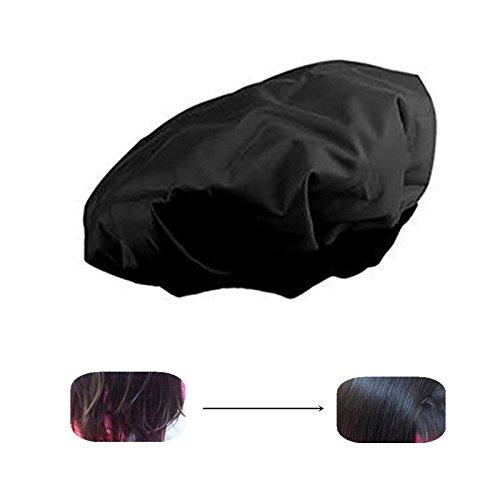 Locisne DIY Calor Térmico Del Pelo Caliente Microwavable Micrófono Del Cabello Acondicionador Del Sombrero Casquillo Del Balneario Herramientas De Styling Negro (Calor del cabello)