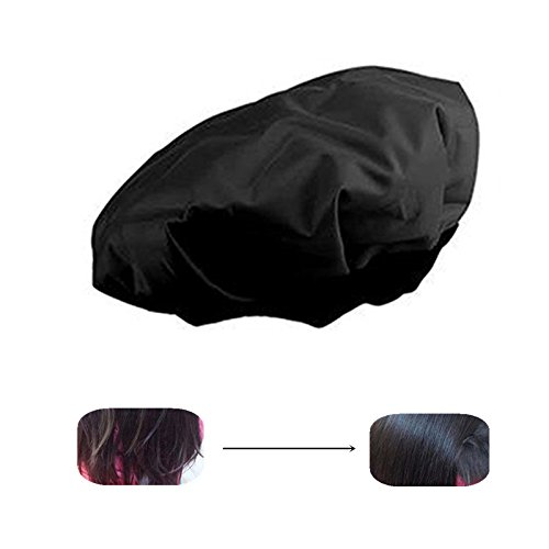 Locisne DIY Thermal Haar Hitze Kappe Microwavable Micro Haar Conditioning Hat Spa Cap Styling Tools Schwarz (Haar-Hitze-Kappe)