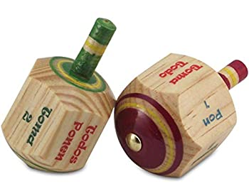 MoreFiesta Pack of 2 Pirinola Toma Todo Game - Set of 2 Hand Painted Wood 3 Inches Tall Spinning Tops Traditional Mexican Game in Spanish for Cinco De Mayo Party  Traditional