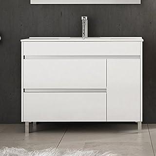 Ducha.es Conjunto 2 Piezas HÉMERA-Mueble de baño y encimera cerámica (80cm, Blanco Brillo)