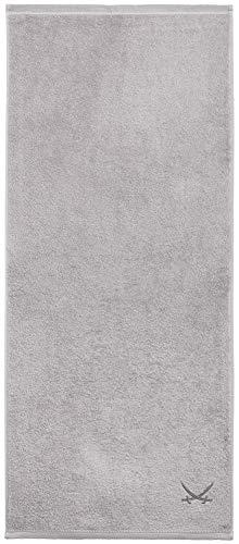 Sansibar Badetuch 90x180 cm 100% Baumwolle mit gesticktem Säbel Logo Strandtuch Saunatuch Silber Einzeln