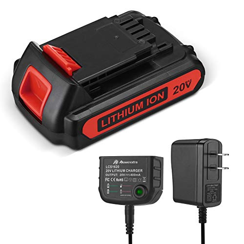 SURTOP 2500mAh Replacement Battery and Charger for Black+Decker LBXR20 LBXR20-OPE LB20 LBX20 LBX4020 LB2X4020-OPE, with 16V/20V Multiple Volt Output Lithium-Ion Battery Charger