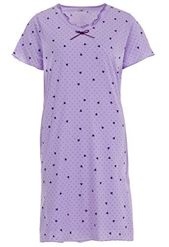 Zeitlos Nachthemd Damen Kurzarm Schleife Herz Punkte Schlafshirt, Farbe:Flieder, Größe:XL