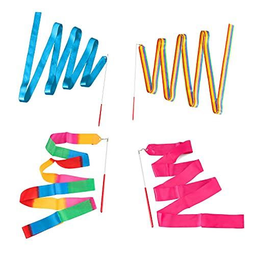 NO 2m Nastri da Danza, 4 Pezzi Nastro per Ginnastica Ritmica Artistico Multicolore Ginnastica Ritmica Bacchette a Nastro con Impugnatura Antiscivolo, Girevole in Qualsiasi Direzione
