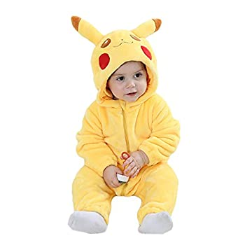 Unisex Baby Romper Winter and Autumn Flannel Jumpsuit Animal Cosplay Outfits?Yellow?80cm- 6-12months ?
