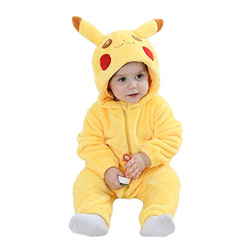 Unisex Baby Romper Winter and Autumn Flannel Jumpsuit Animal Cosplay Outfits Xmas Pajamas Kigurumi (Yellow, 80cm-(6-12months))
