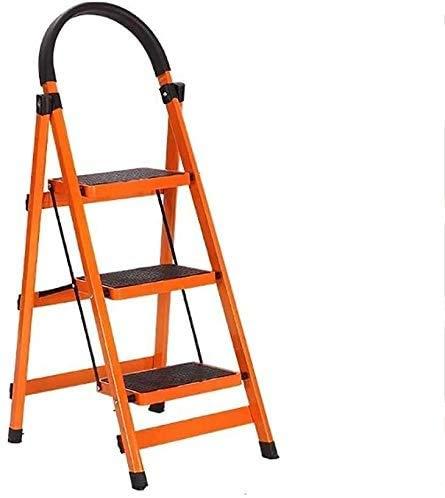 GUOXY Multifunktions-3-Stufenleiter Folding Haushaltsaluminiumtrittschemel, Convenient Fuß Hocker, Lichtleiter Innen Und Außen,Orange