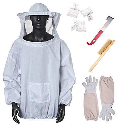 Imicole-gereedschap, 7 stuks, mantel, wit, bijenhandschoenen